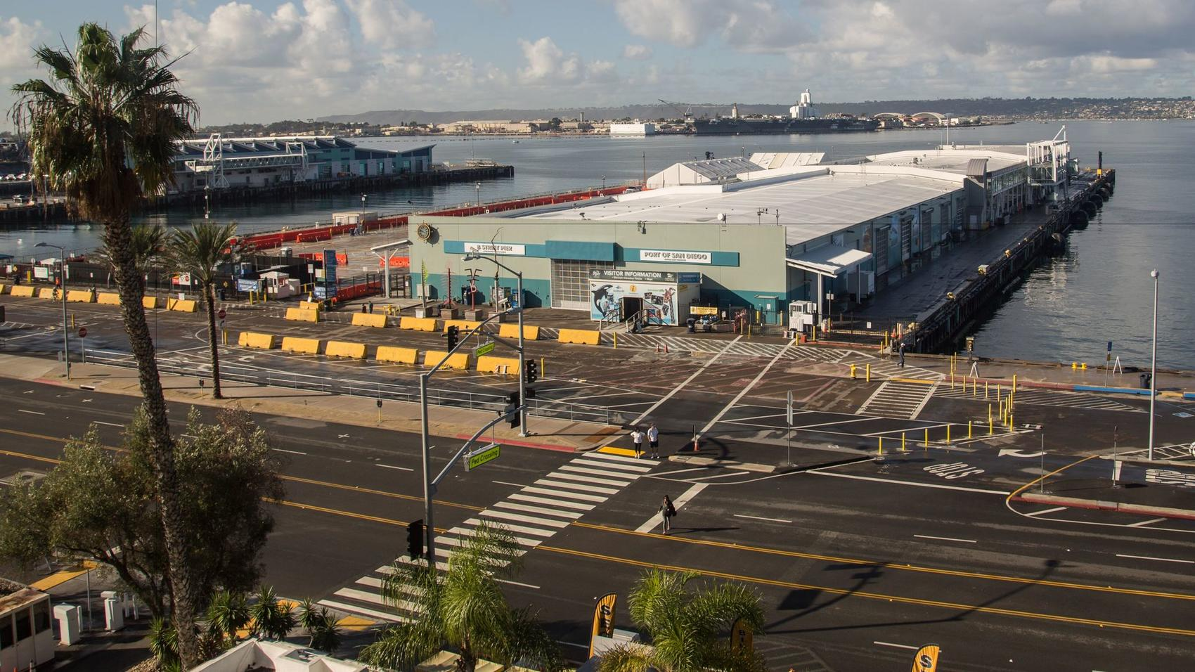 B Street Pier is the location of the cruise ship terminal, a former warehouse. (Tony Webster/SD Unified Port District)