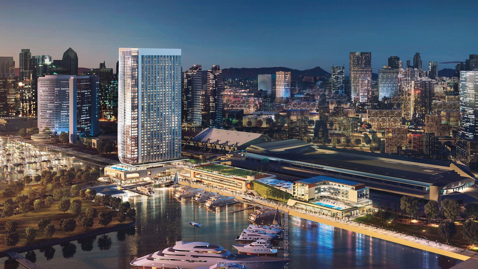 The Fifth Avenue Landing hotel would be built on the bayside of the San Diego Convention Center. (Gensler)