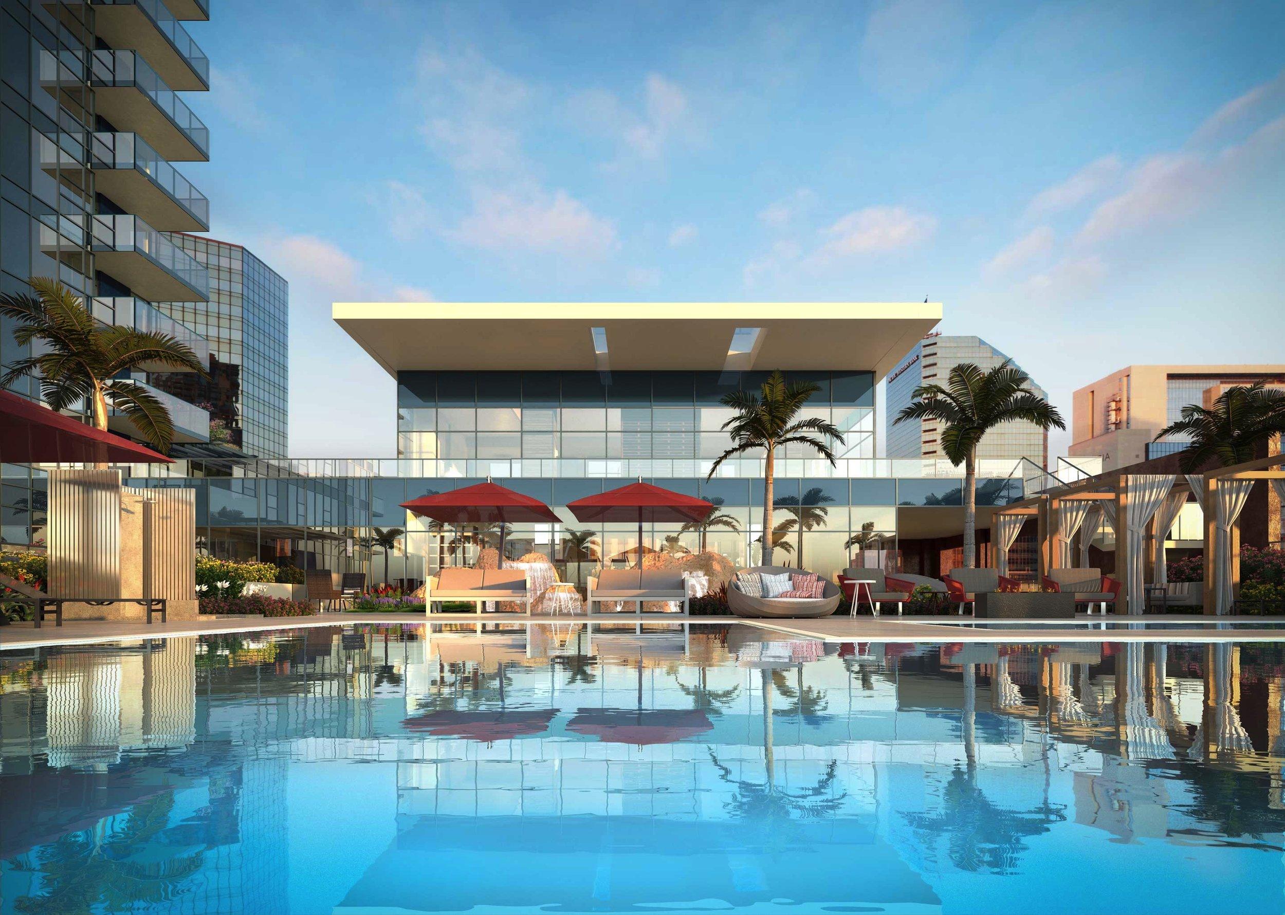 lush resident pool terrace