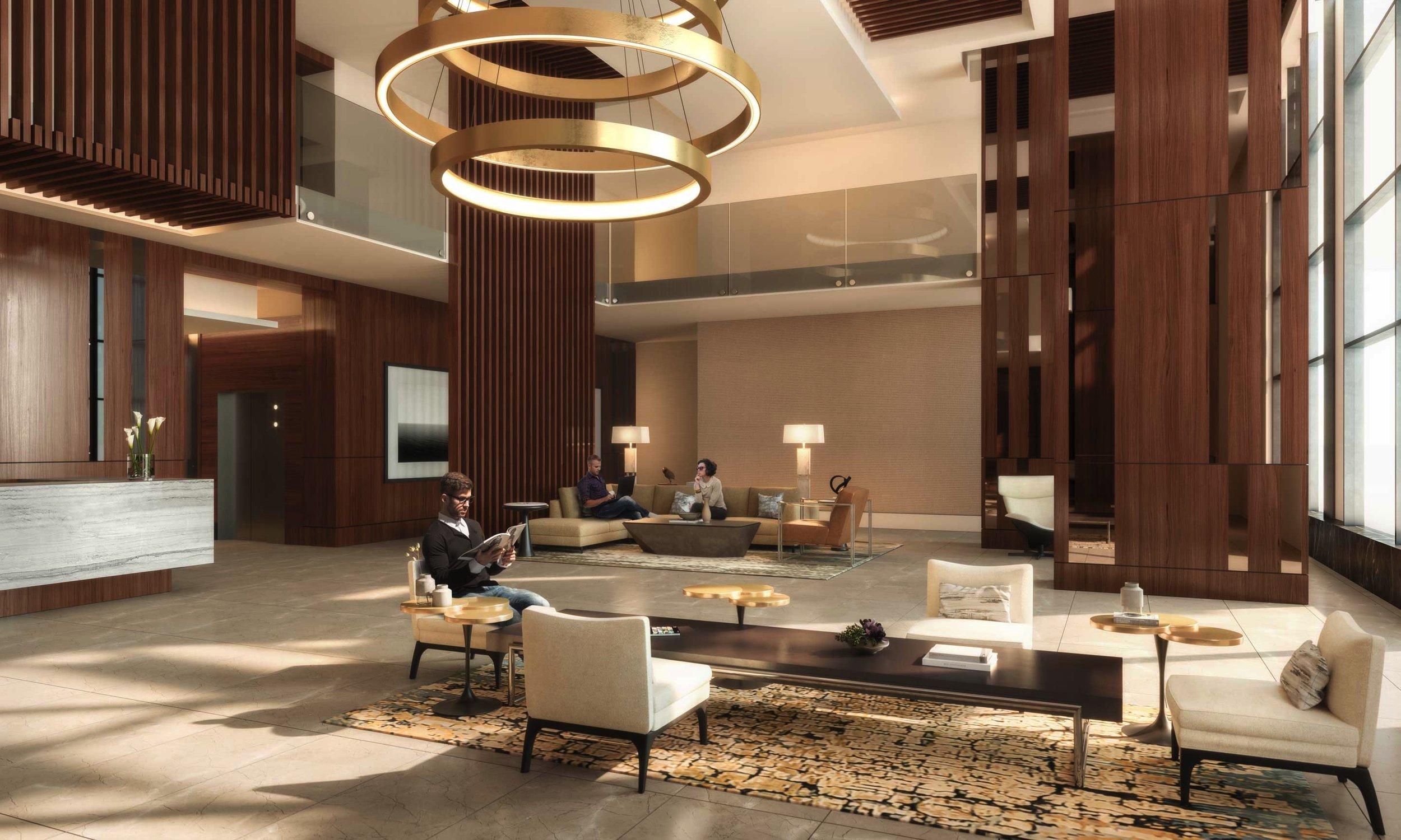 stylish resident lobby + business lounge