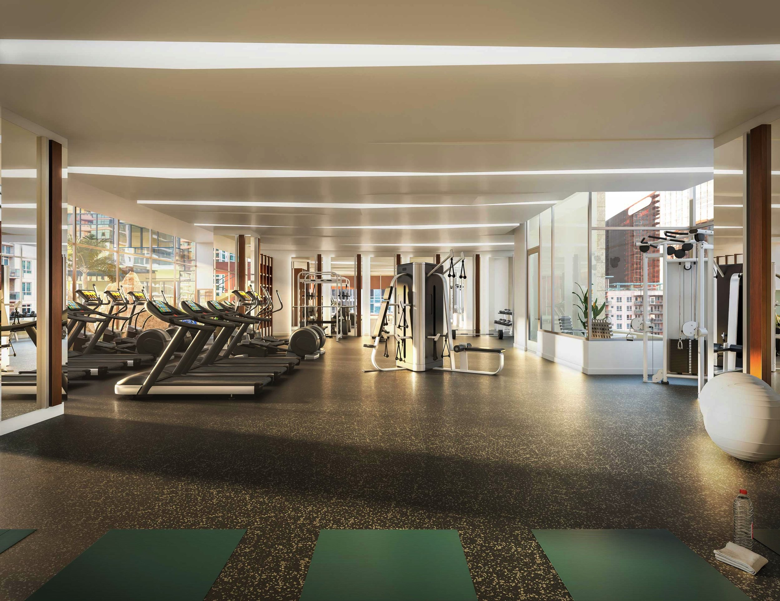 CONVENIENT FITNESS CENTER with yoga terrace