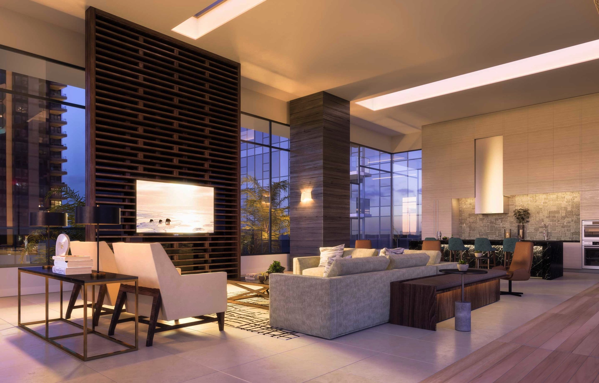 expansive pool level resident lounge
