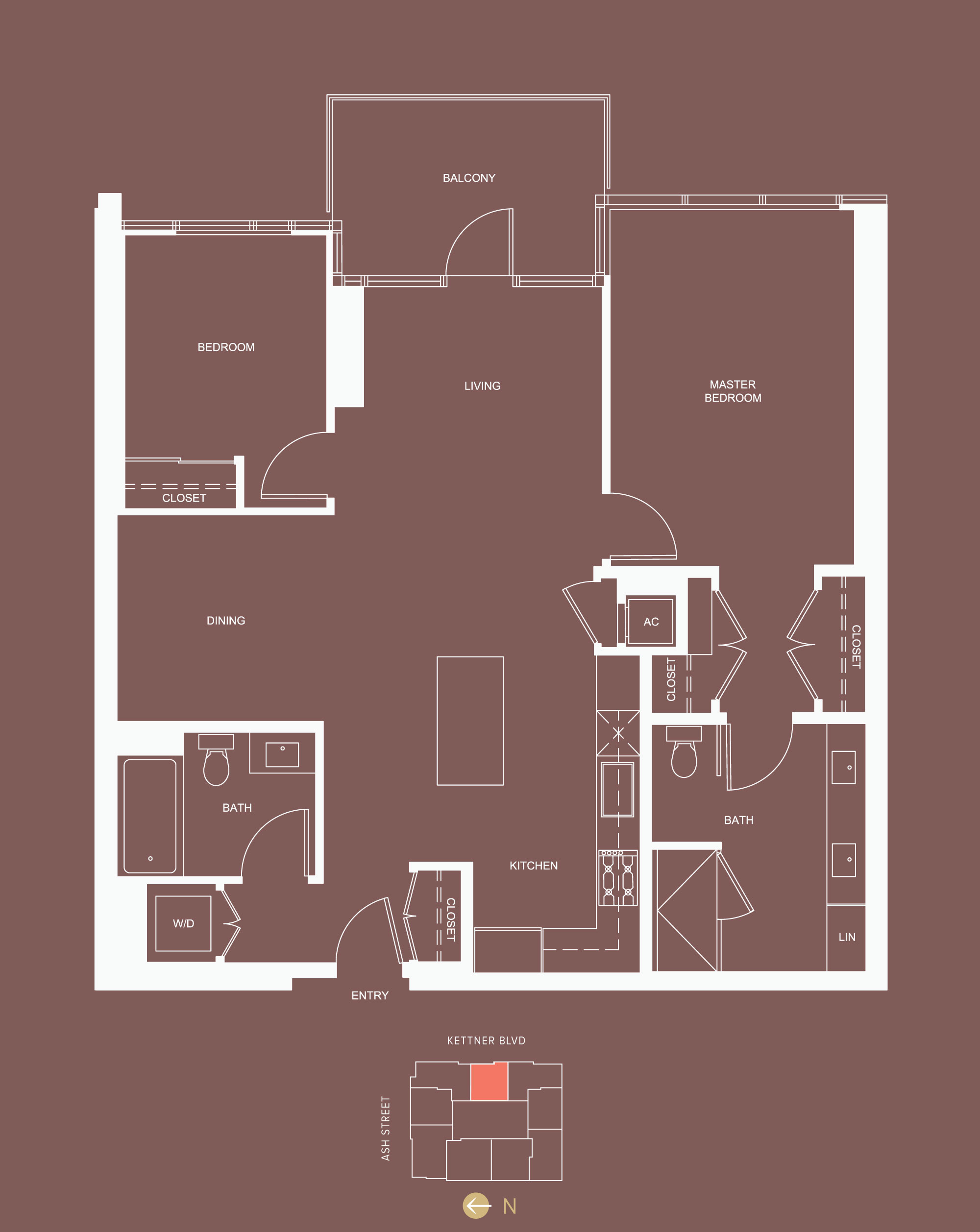 2 bed / 2 bath - approx 1,170 sf - floor 9-24, 25-27