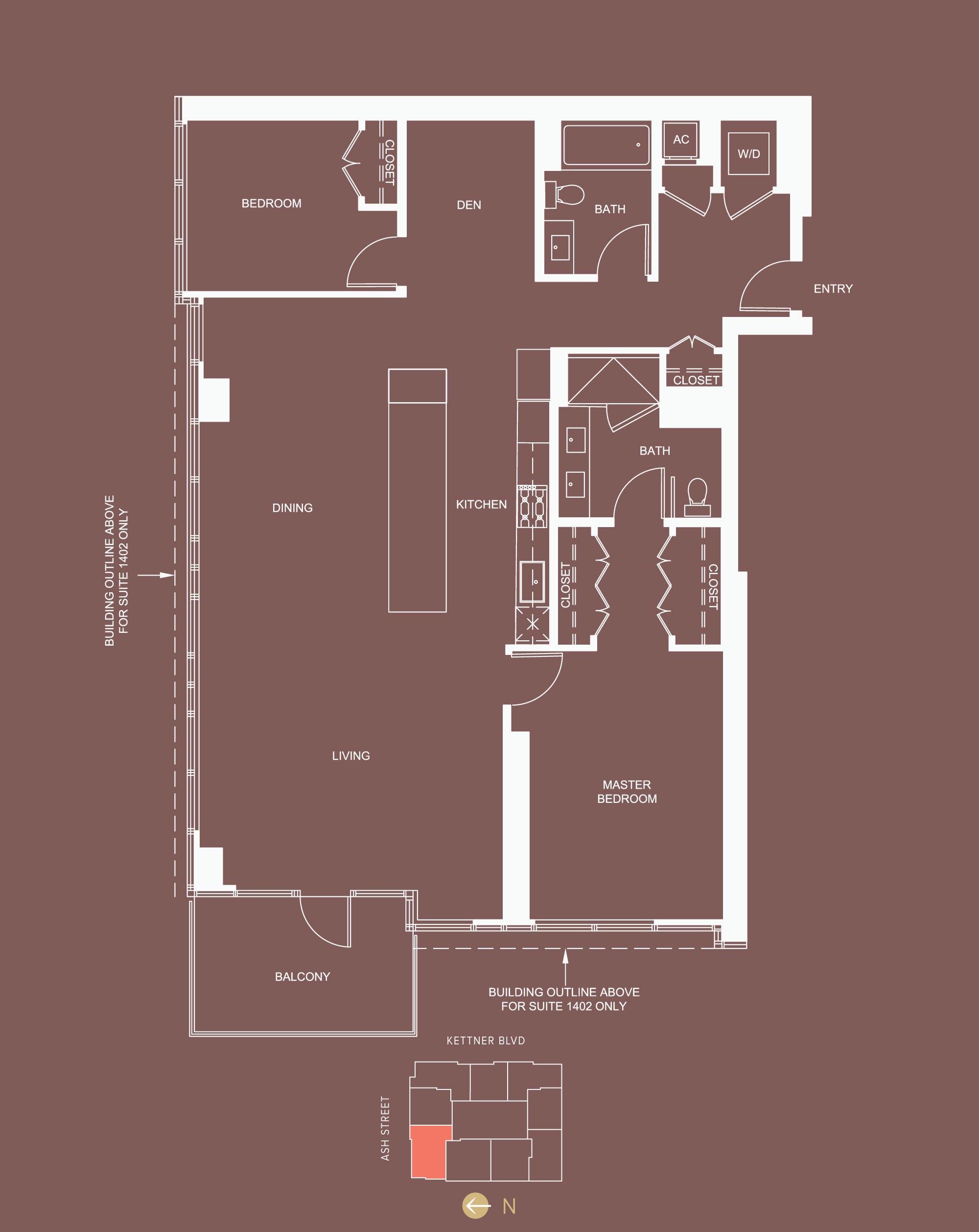 2 bed + den, 2 bath - approx. 1,632 sf - floor 6, 9-10, 13-14