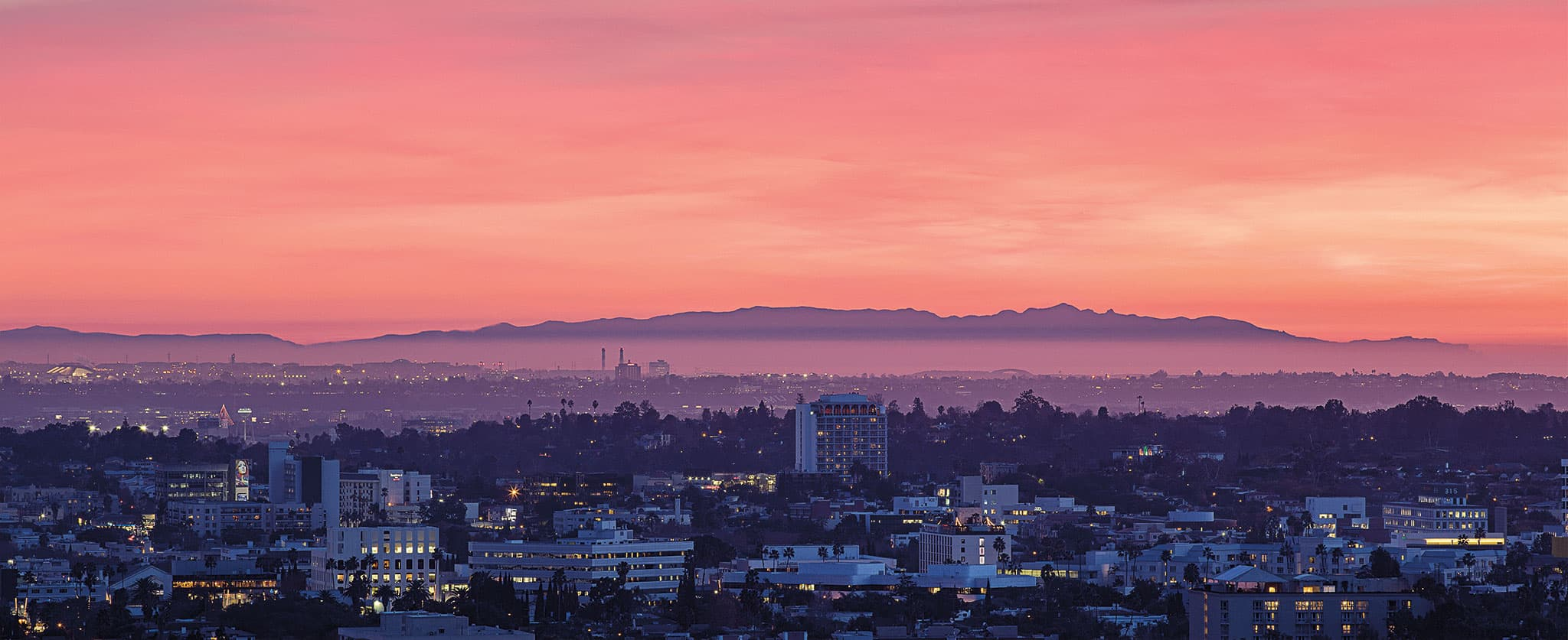South-facing view at sunset