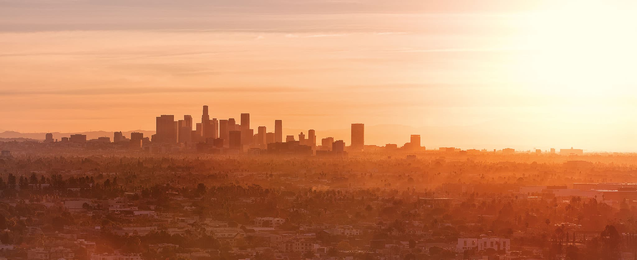 Views of downtown Los Angeles at sunrise