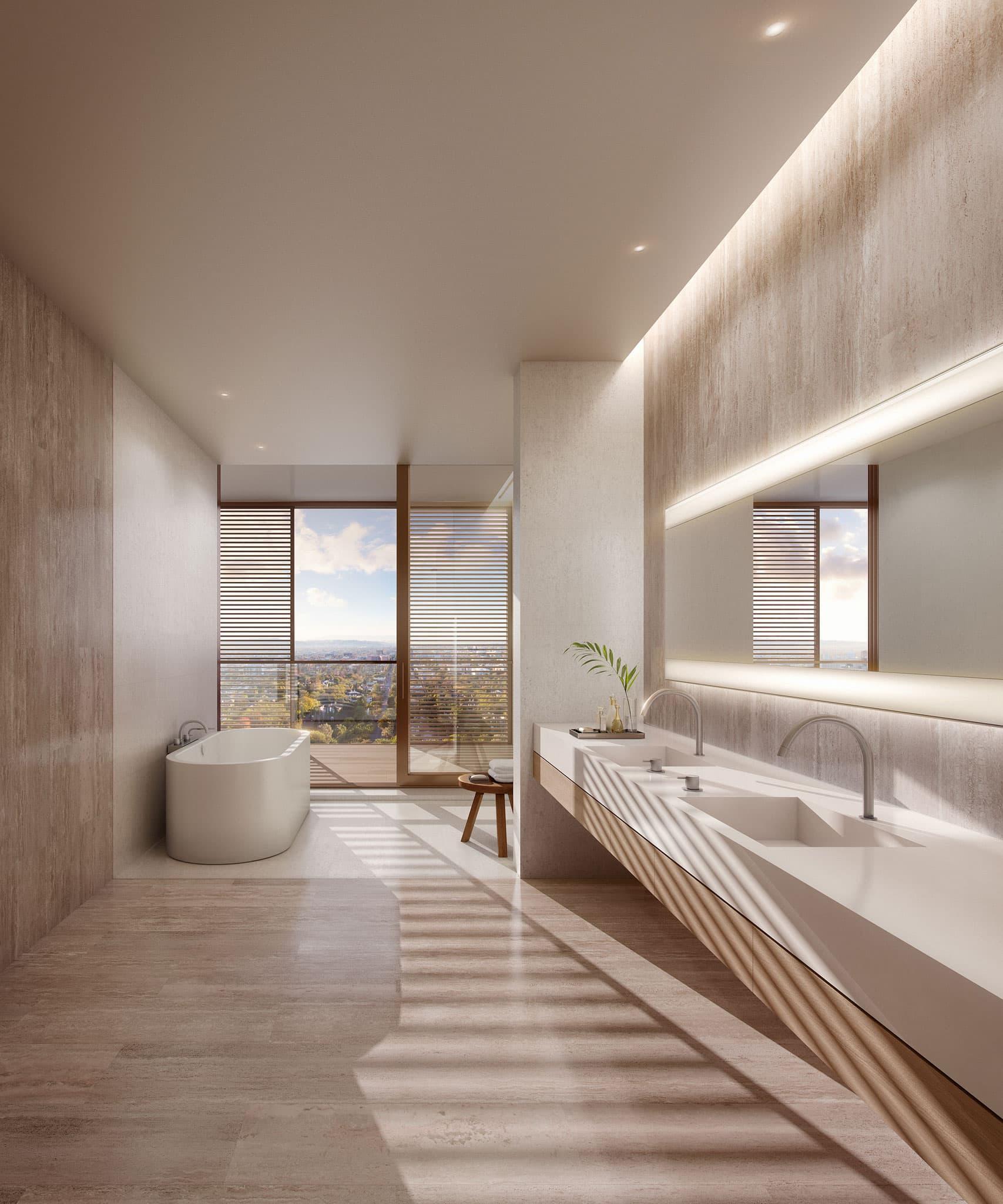 Master bathrooms and powder rooms feature custom floating vanities