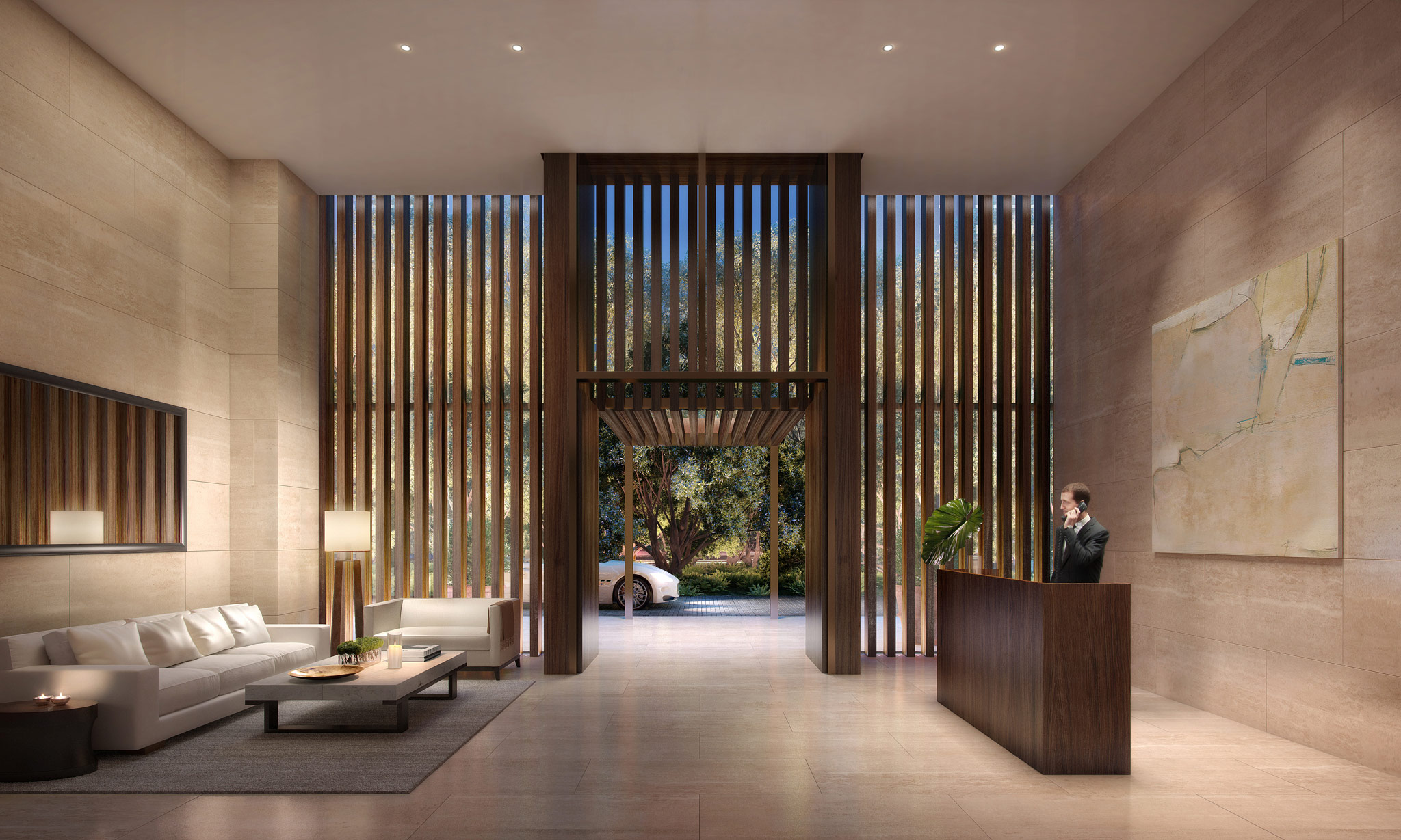 Private 24-hour attended residential lobby