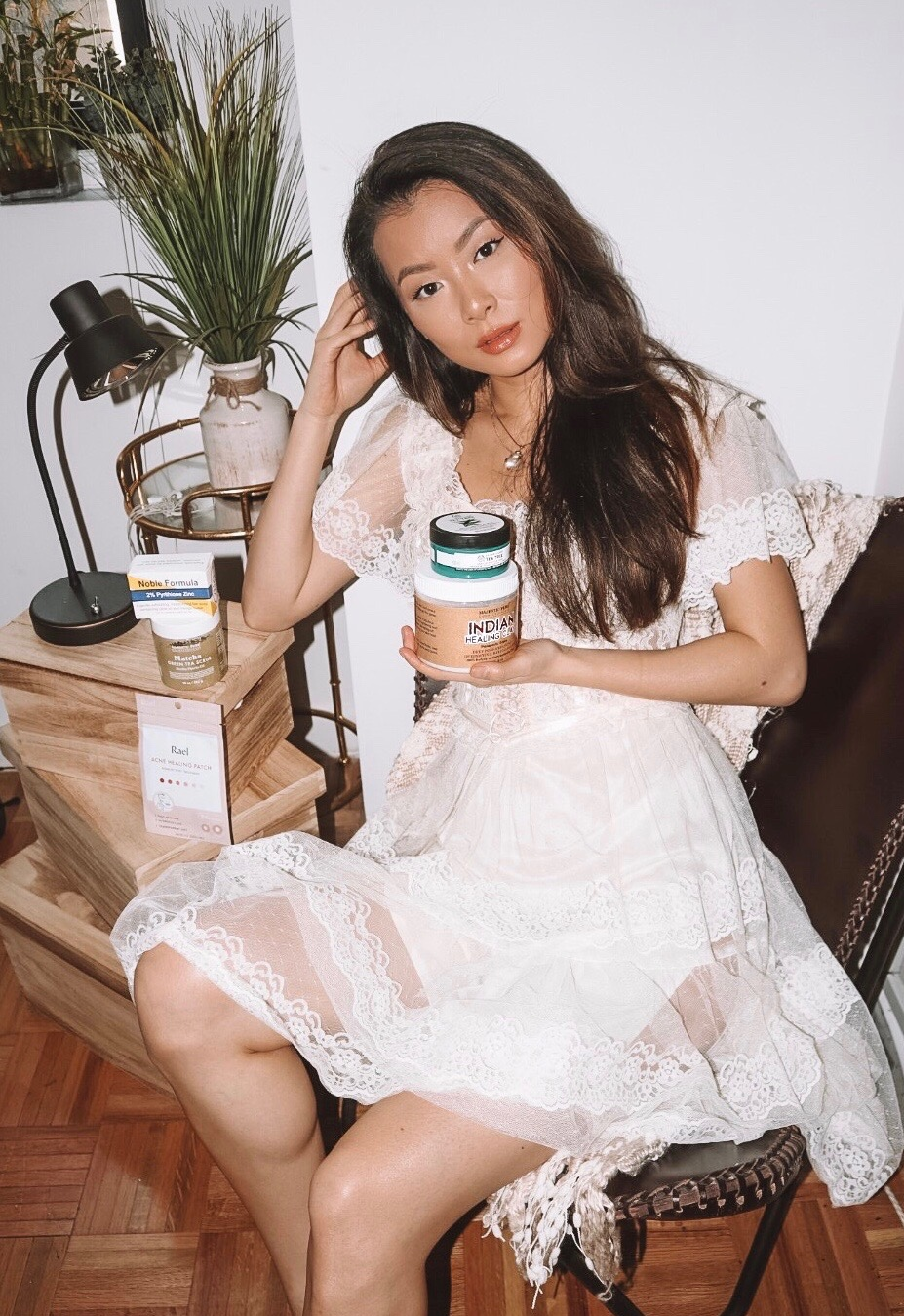 PRODUCTS PICTURED WITH MAE IN A CHAIR