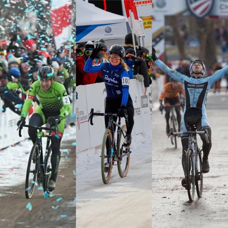 National Champion Cycle-Smart Athletes, Stephen Hyde (Elite Men), Ellen Noble (U23 Elite Women) and Adam Myerson (Masters 45-49 Men). Photo: cxmagazine.com, JAM Fund Cycling, cxmagazine.com