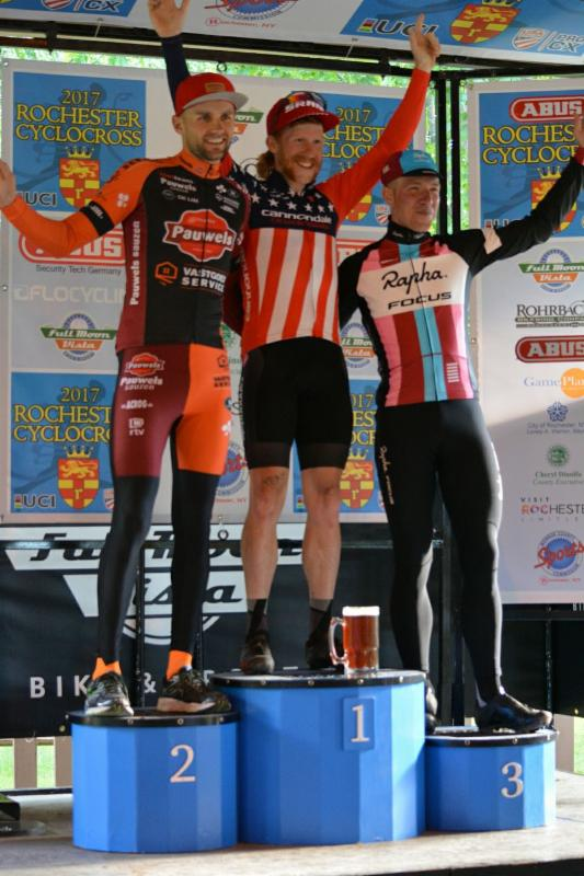 Stephen Hyde wins the C1 UCI Men's race on day one of Rochester Cyclocross.  Photo: Rochester Cyclocross