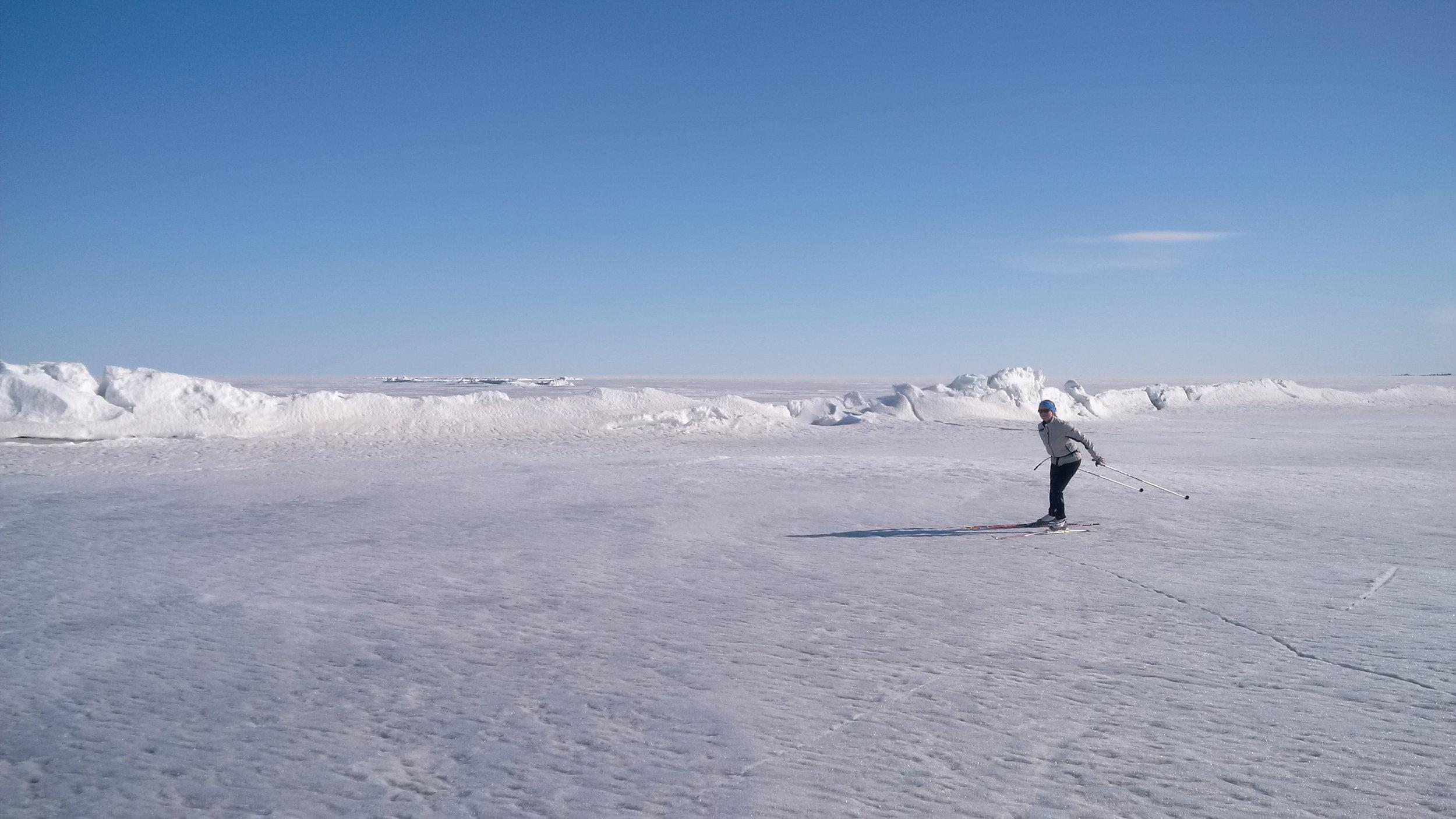 Kerry skiing on the big lake.