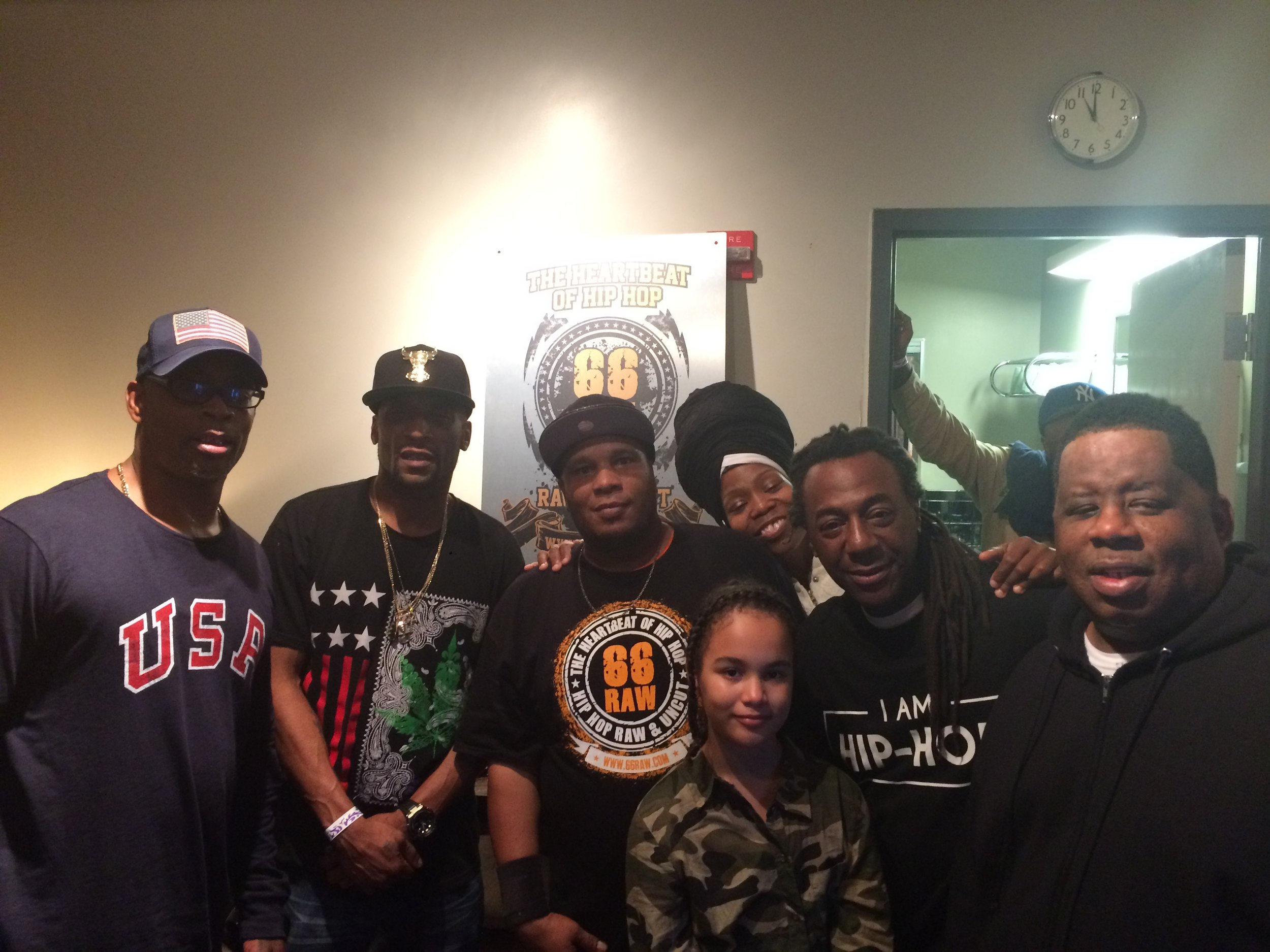 LtoR SadatX, Lord Jamal, Bart, Bright, Busy Bee, Puba w: KoolFlash Up Front#2 10:16.JPG