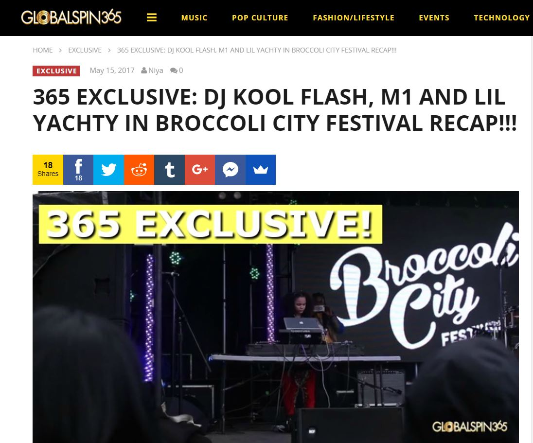 365 EXCLUSIVE: DJ KOOL FLASH, M1 AND LIL YACHTY IN BROCCOLI CITY FESTIVAL RECAP!!! - (2017)