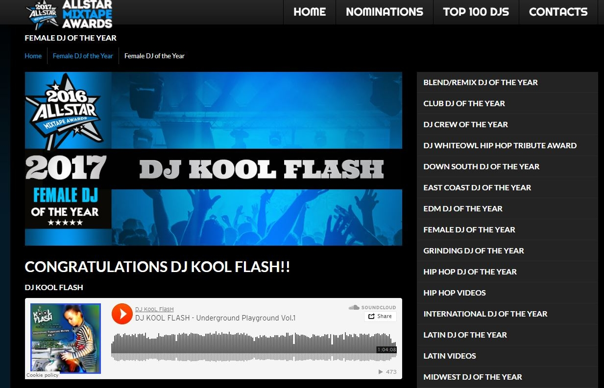 All Star Mixtape Awards - Dj Kool Flash is Female DJ of the YEar! - (2017)