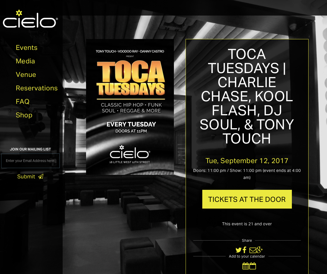 NYC OFFICIAL MIXTAPE RELEASE PARTY w/ DJ TONY TOUCH & The Legend CHARLIECHASE @Cielo(NYC  - (2017)