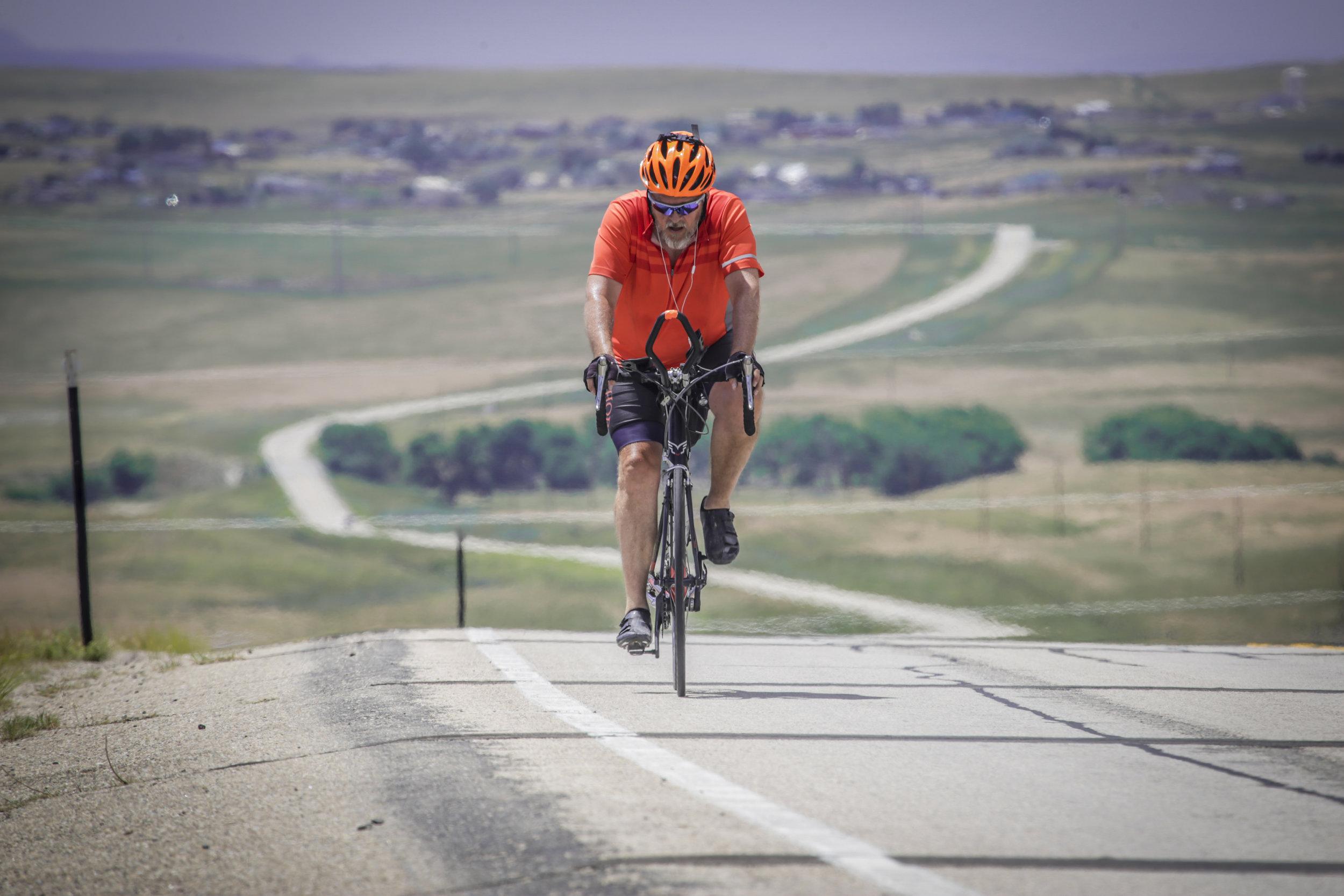 Mark in Wyoming during his bike ride across America