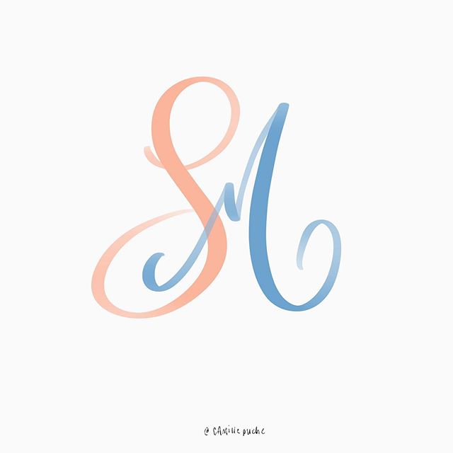 S+M | Letter Play . #calligraphy #camillegraphy #handwriting #procreate #ipad #lettering #letters #colours #initials #monogram #cursivewriting #wedding #letterplay #vancouver #calligraphy_daily #vancouvercalligraphy