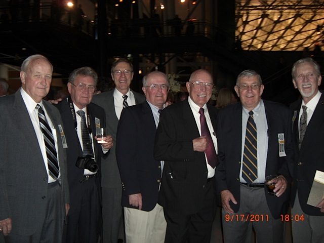 Left to Right:: Les McChristian, Clark Carlin, Mike Mazaika (Perkin-Elmer Manager), Tom O'Neil, Ray Anderson, Dave Berganini, Ed Rising. Missing is Dave Raspet.
