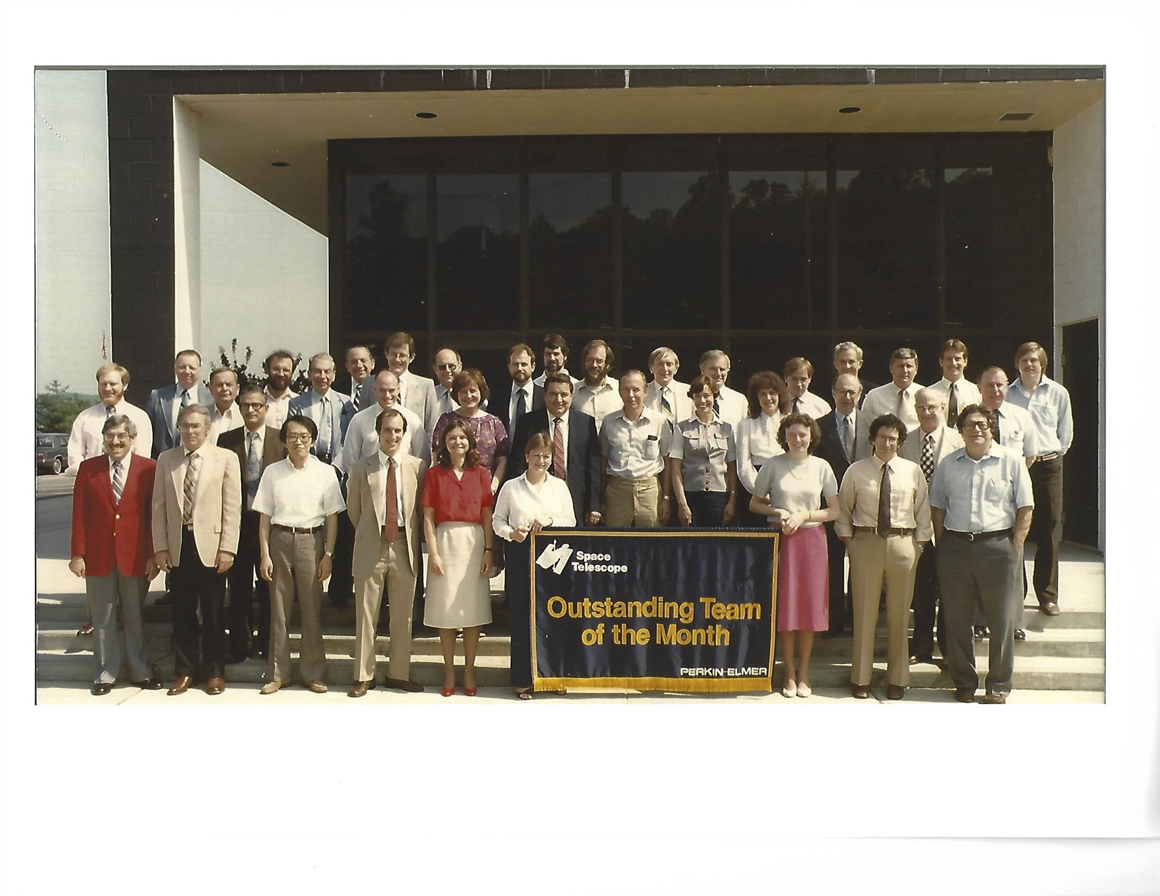 The space telescope team of the month in June 1984. Sam Palasciano is in the center with jacket and red tie. The names of some of the team are identified in the next two photos.