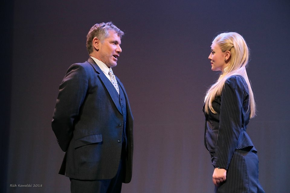 Elle in  LEGALLY BLONDE  with Willy Falk (Callahan). (2018)  Fair Moon Stages  Photo by Rich Kowalski