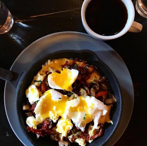 Poached Eggs Over Wild Mushroom Polenta (@CebuBarBistro)