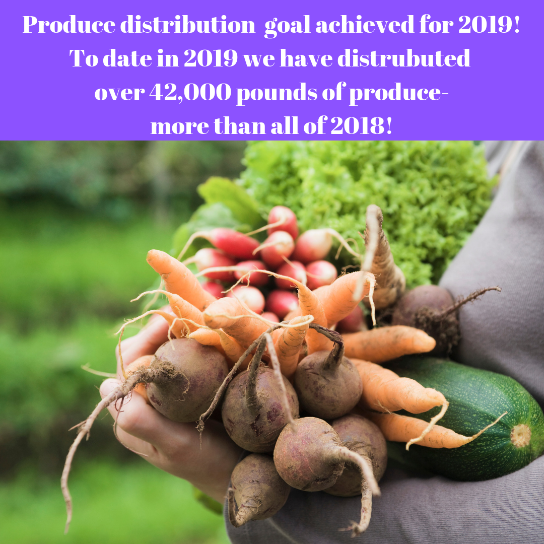 Produce distribution goal achieved for 2019! To date in 2019 we have distrubuted over 42,000 pounds of produce-more than all of 2018!.png