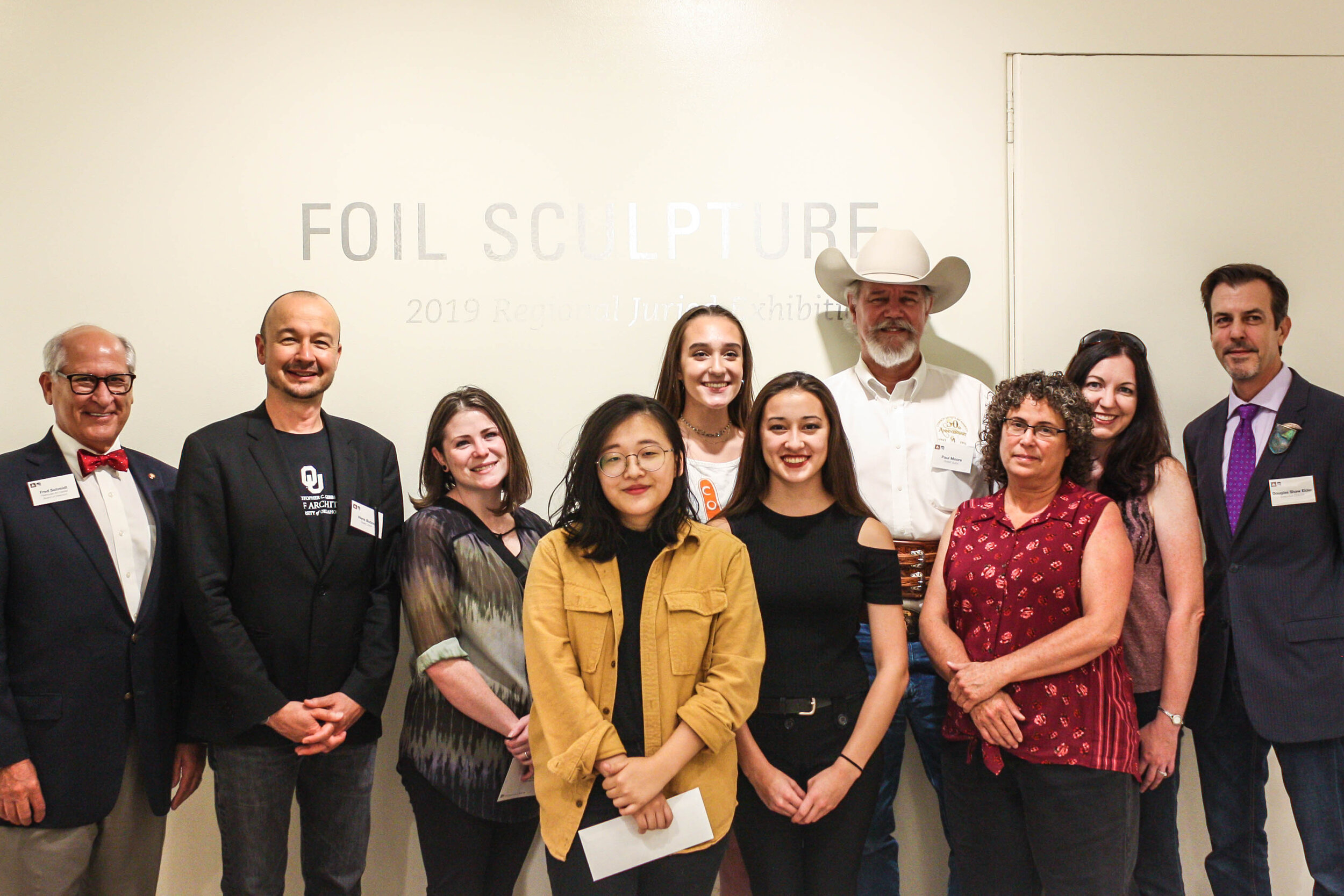 Left to Right: Fred Schmidt (FAC Board Member), Hans Butzer (Dean of OU Gibbs College of Architecture), Sarah Gonzalez (Special Award), Jamie Lim (1st Place), Santana Jimenez-Calhoun (2nd Place), Anneli Walsh (Honorable Mention), Paul Moore (Sculptor-in-Residence at OU School of Visual Arts), Terri Russell (Honorable Mention), Christy Phelps (Honorable Mention), Douglas Shaw Elder (FAC Executive Director)