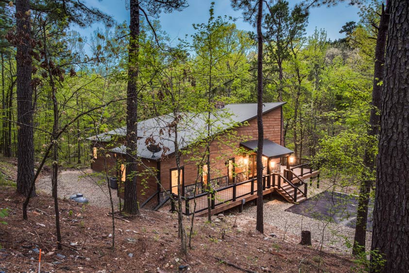 Rustic Hollow Cabin | Exterior Surrounding By Pines & Hardwoods