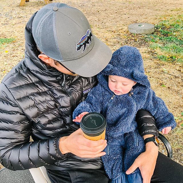 It was a really long border lineup to be in the States for less than 24 hours, but my gosh was it worth it to be there for my little guys first camping trip 🏕 . ☕️ Also, Leon seemed as into my Americano from @woodscoffee as I was! . . . . #dadlife #parenthood #patagonia #woodscoffee #birchbay #camping #campingwithbabies #family #outdoors #explore #exploremore
