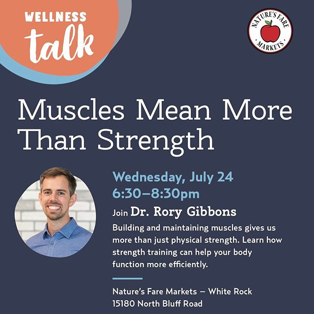 💪🏼 COMMUNITY TALK . Building and maintaining muscles gives us more than just physical strength.  When our bodies have adequate skeletal muscles, our . 🦴 Bones 💑 Hormones 🧠 Mood 😵 Pain levels and 🕺🏻Confidence . thank us . Come out to Nature's Fare in White Rock on July 24th to learn more about how strength training will make your body function more efficiently! . . . . . . . . . . . . #naturesfare @naturesfaremarkets #muscle #mood #confidence #drrorygibbons #community #menshealth #strengthtraining #strength #strengthtrain #hormones #testosterone #whiterock #langleybc #education #naturopathicmedicine #strengthandconditioning