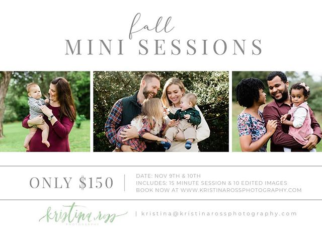 I don't know about y'all, but this heat wave has me missing fall more than ever! Bring on the (slightly) cooler temps, pumpkin spice, football, sweaters, boots, and 🍂FALL🍂 mini sessions! I will be photographing a limited number of mini sessions this year on November 9th and 10th. You can book your session through the link in my bio!  I'll also be doing a GIVEAWAY! One mini session spot will be up for grabs to one lucky winner that will be chosen at random on 8/18/2019. To enter, follow me @kristinarossphoto, tagging a friend below in the comments, and telling me what kind of mini session you would do if you won! You can receive additional entries by tagging more friends. Good luck and stay cool out there!! 💕 #kristinarossphotography  Giveaway has no affiliation with Instagram. If you win, you must choose a session time on Nov 9th or 10th.