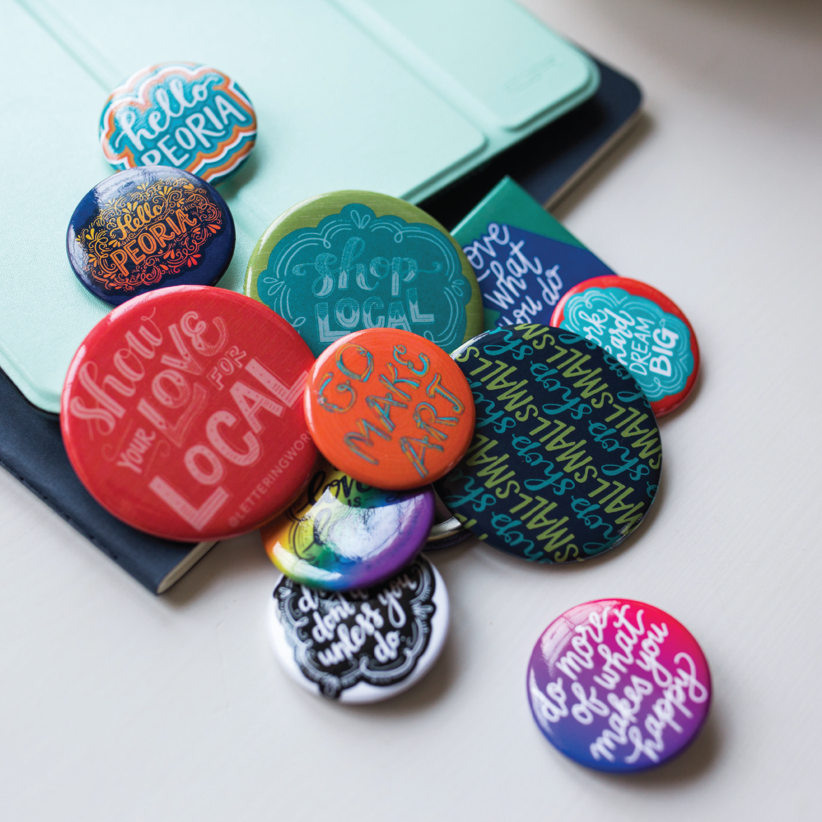 Lettering Works Art Buttons