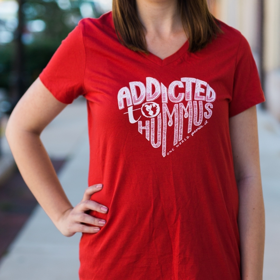 """Addicted to Hummus"" design for One World Cafe"