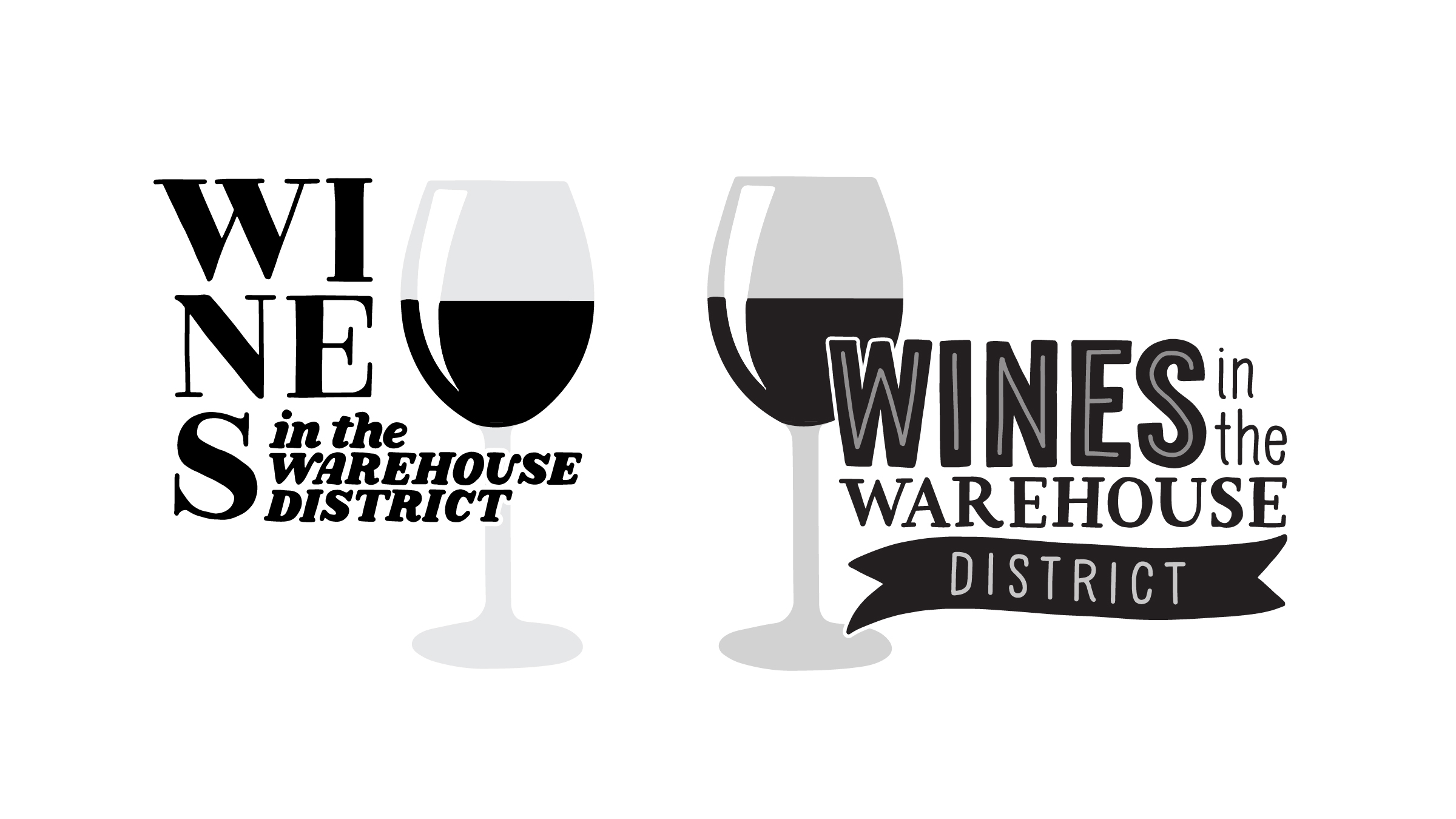 """Two initial design concepts for """"Wines in the Warehouse District"""""""