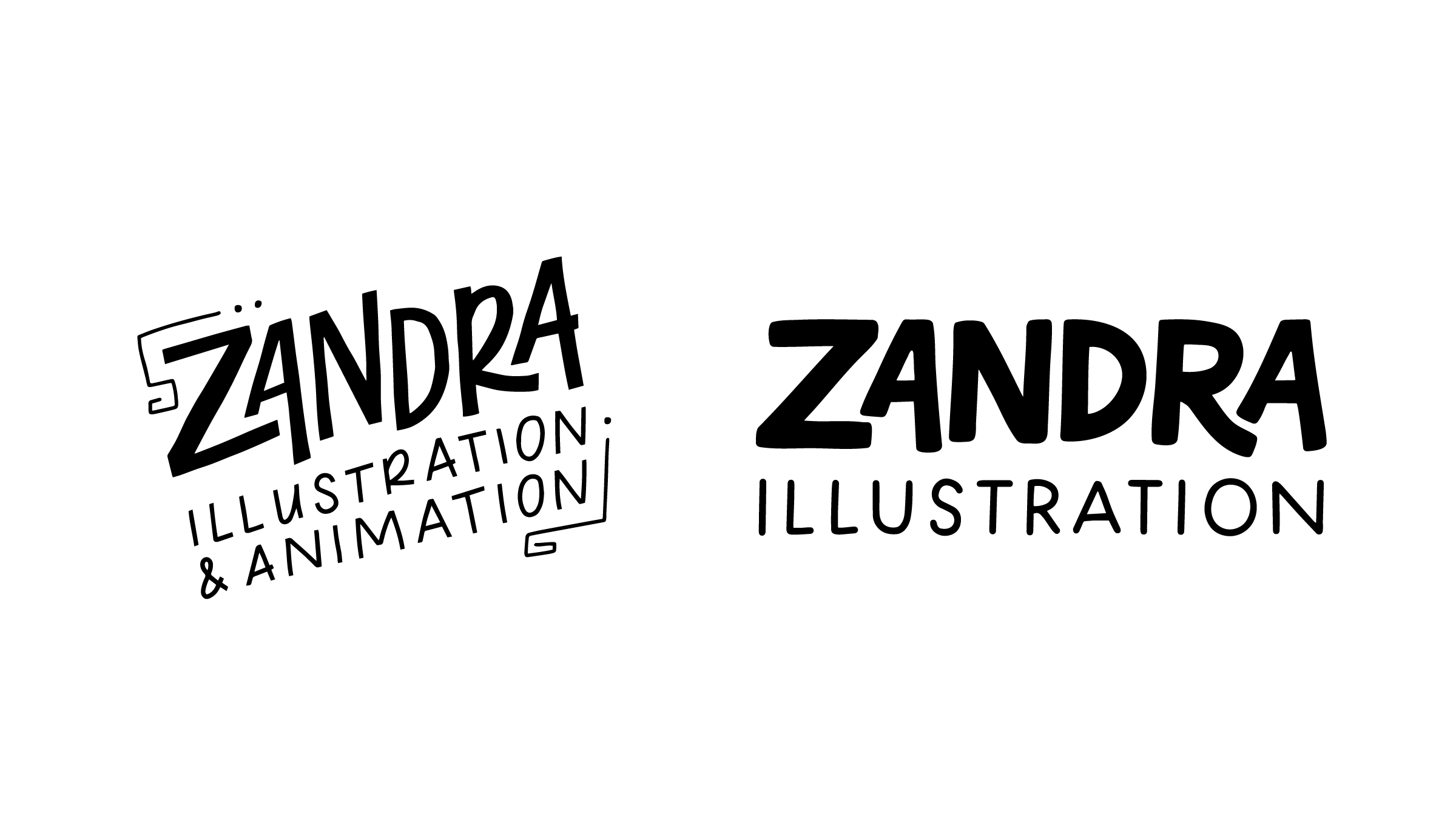 Zandra Illustration Rebrand - Old and New Logos