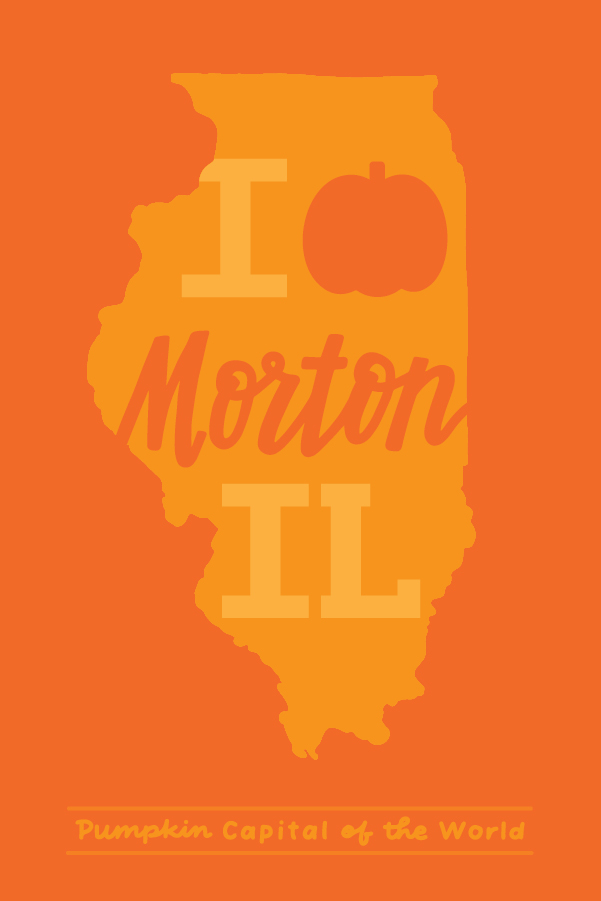 """This design took inspiration from Lettering Works existing """"I Heart Morton IL"""" design, but a pumpkin replaces the heart. The addition of """"Pumpkin Capital of the World"""" further celebrates the importance of pumpkins to the community."""
