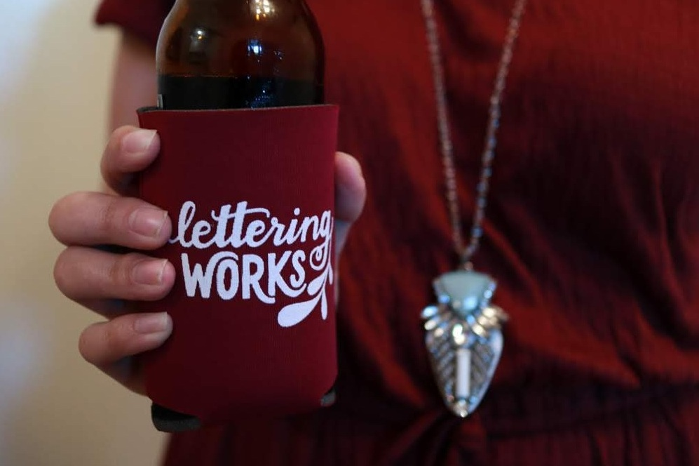 Custom Designed Lettering Works Koozie