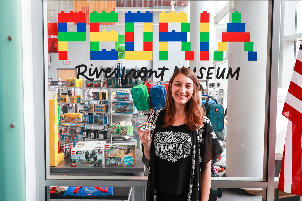 Peoria Riverfront Museum - Lego Sign + Hello Peoria Shirt