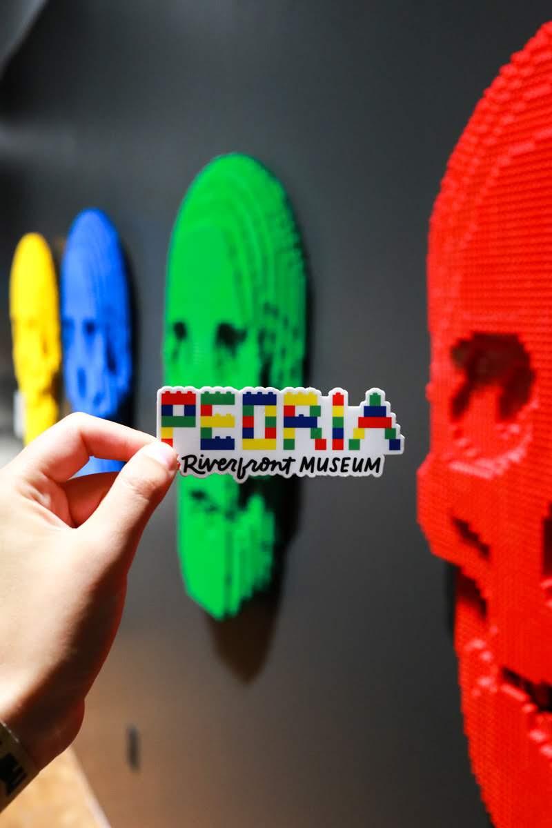 Peoria Riverfront Museum Sticker - Colorful Bricks