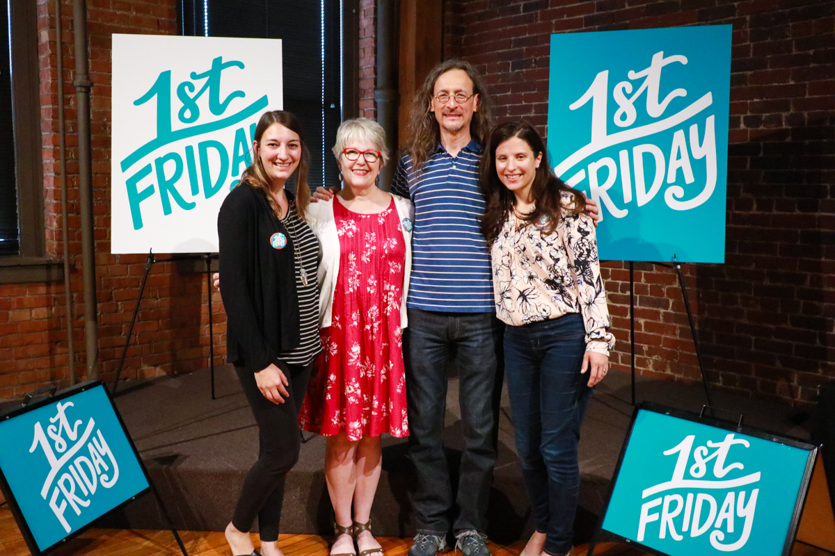 Pictured: Chelsie Tamms of Lettering Works, Local Artist Barbie Perry, William Butler of the Contemporary Art Center, and Jenn Gordon of ArtsPartners of Central Illinois.