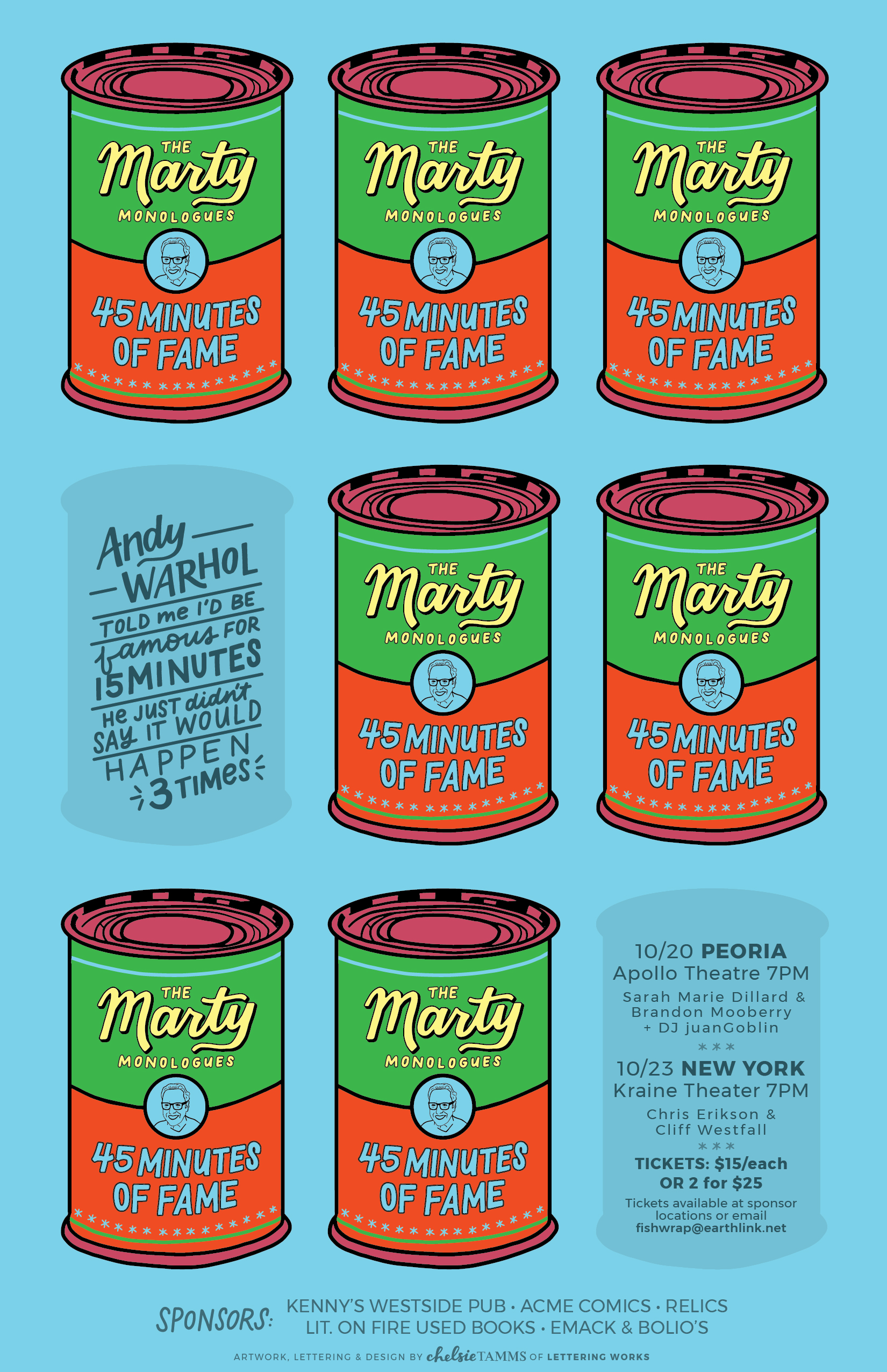 Marty Monologues 3 - 45 Minutes of Fame - Poster by Lettering Works