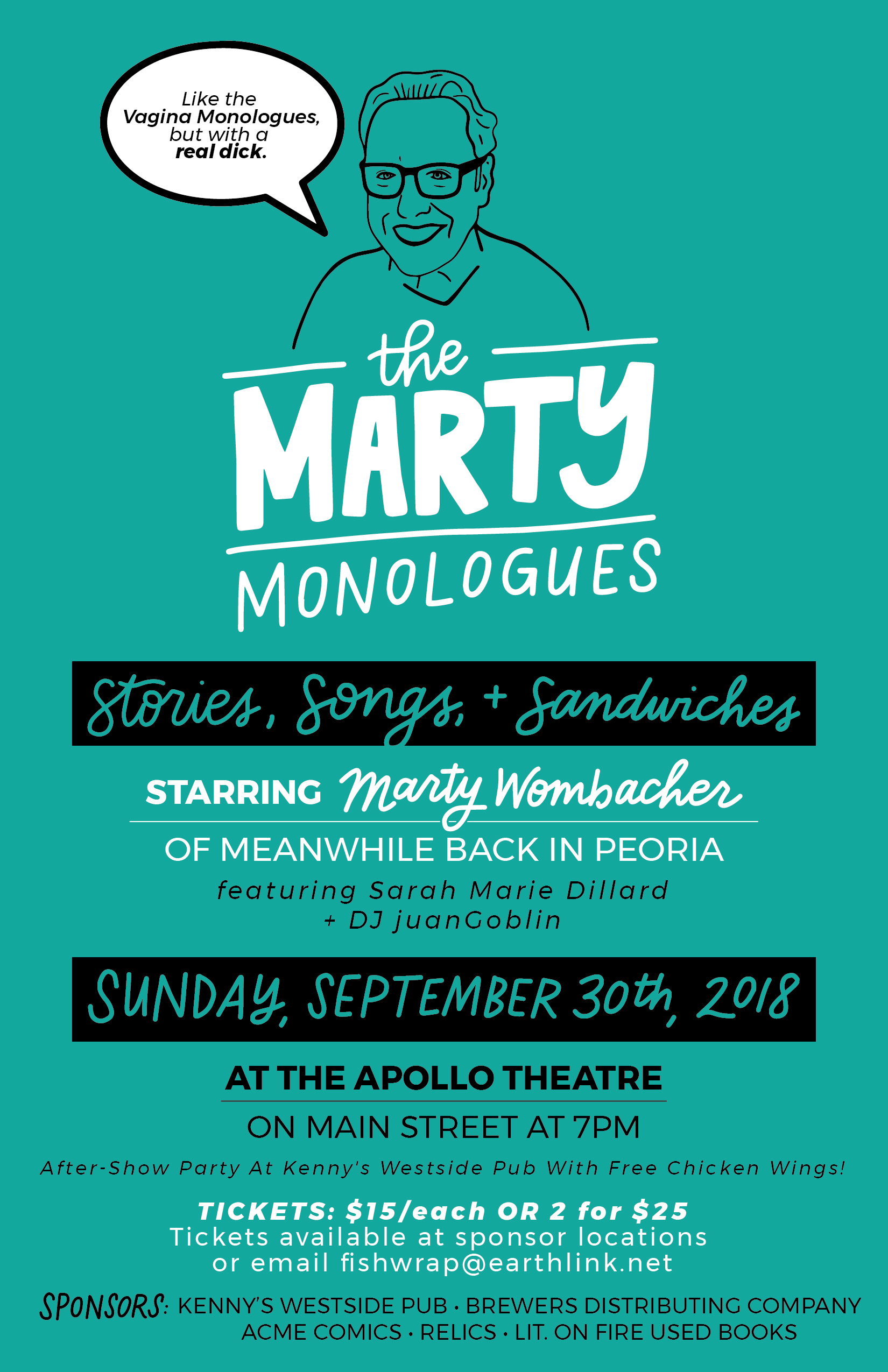 The Marty Monologues - Stories, Songs, and Sandwiches - Poster Design