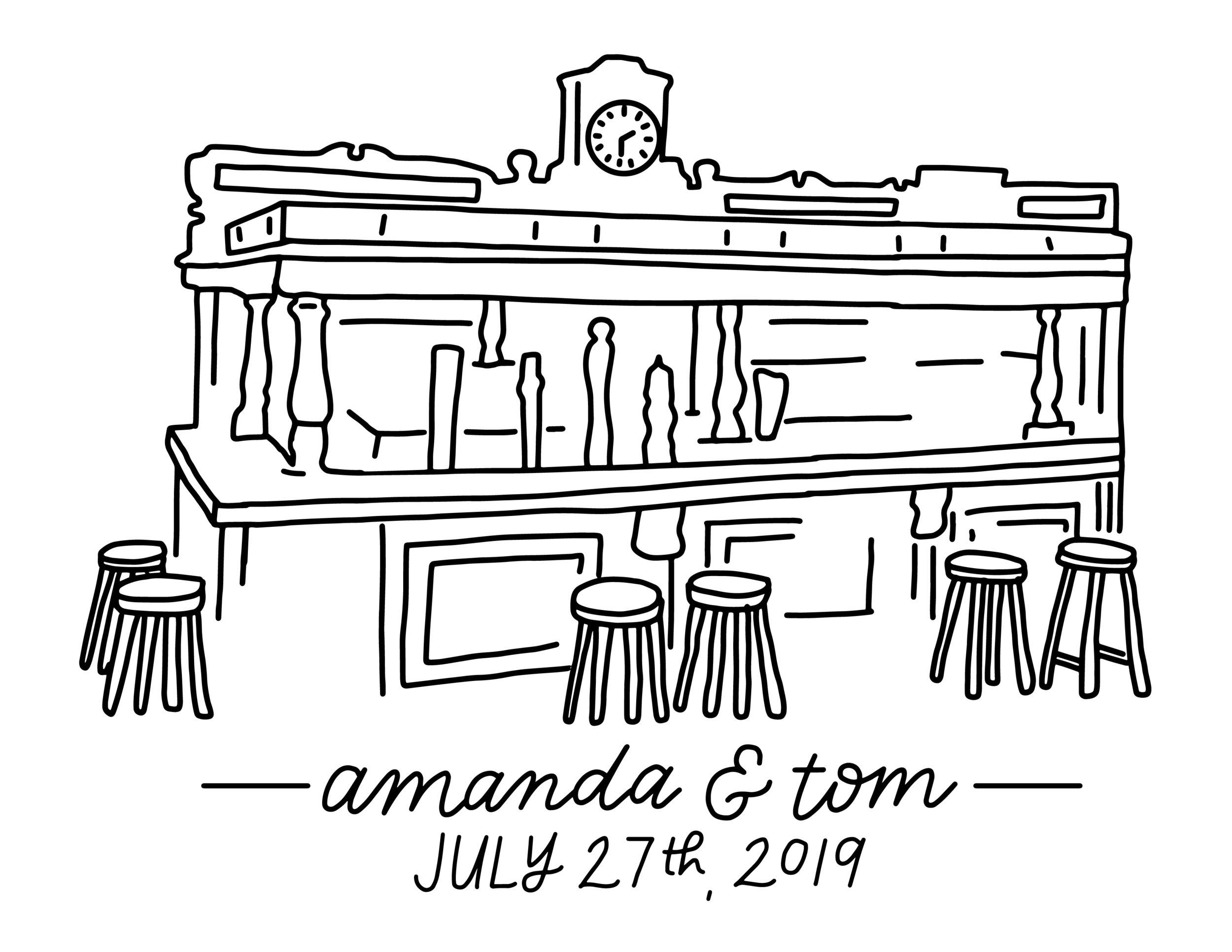 Amanda and Tom - Wedding Illustration