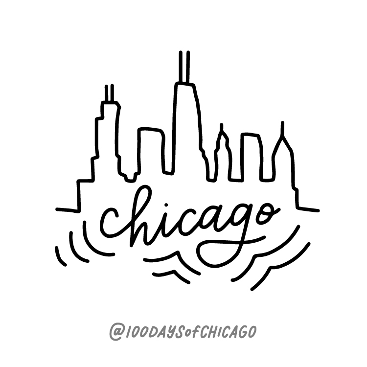 Drawing 1/100.  The first illustration for 100 Days of Peoria was the Peoria skyline, so naturally I had to follow suite with this Chicago skyline illustration.
