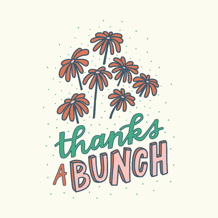Thanks a Bunch - Hand-Lettered Greeting Card Design