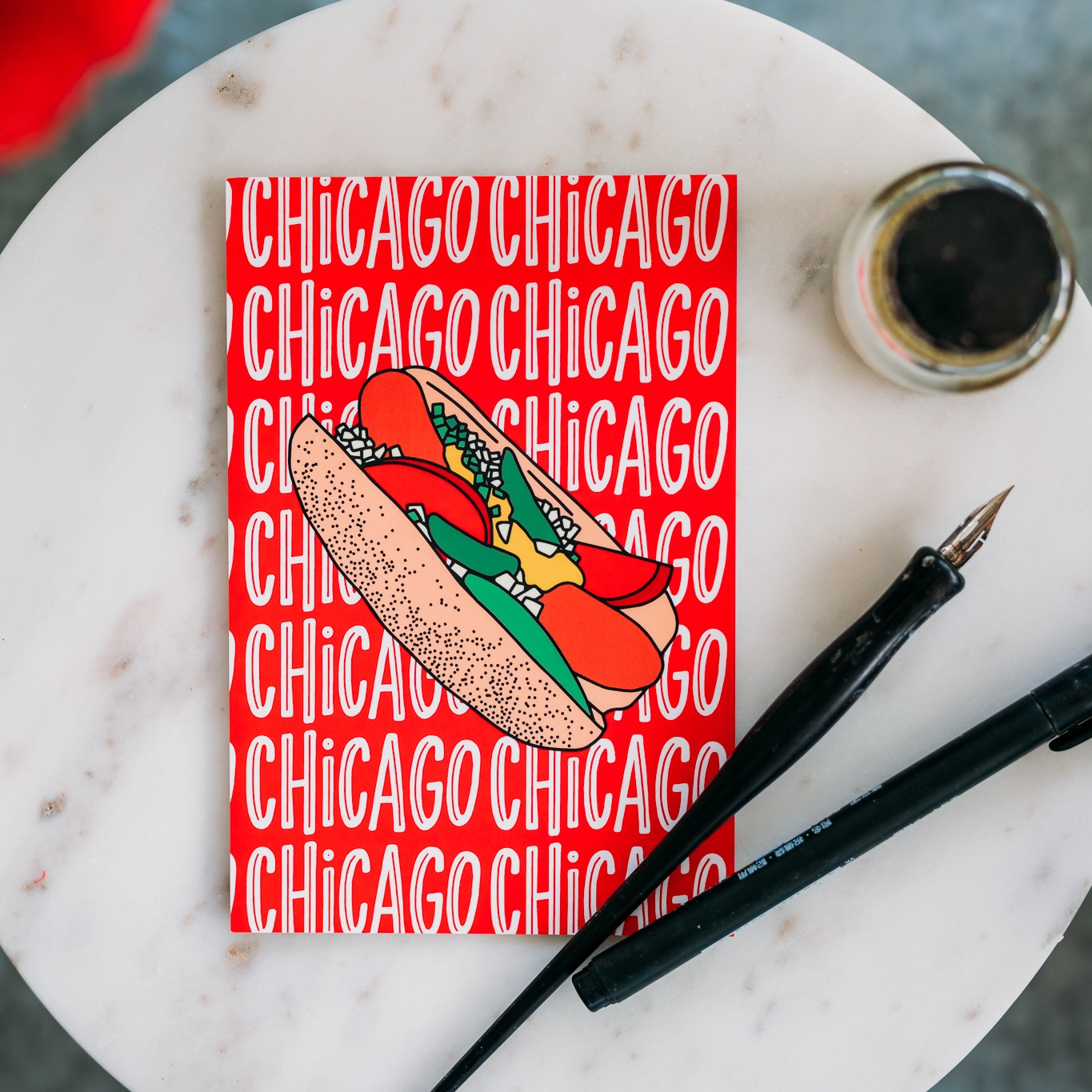 Chicago Style Postcard Hot Dog Design