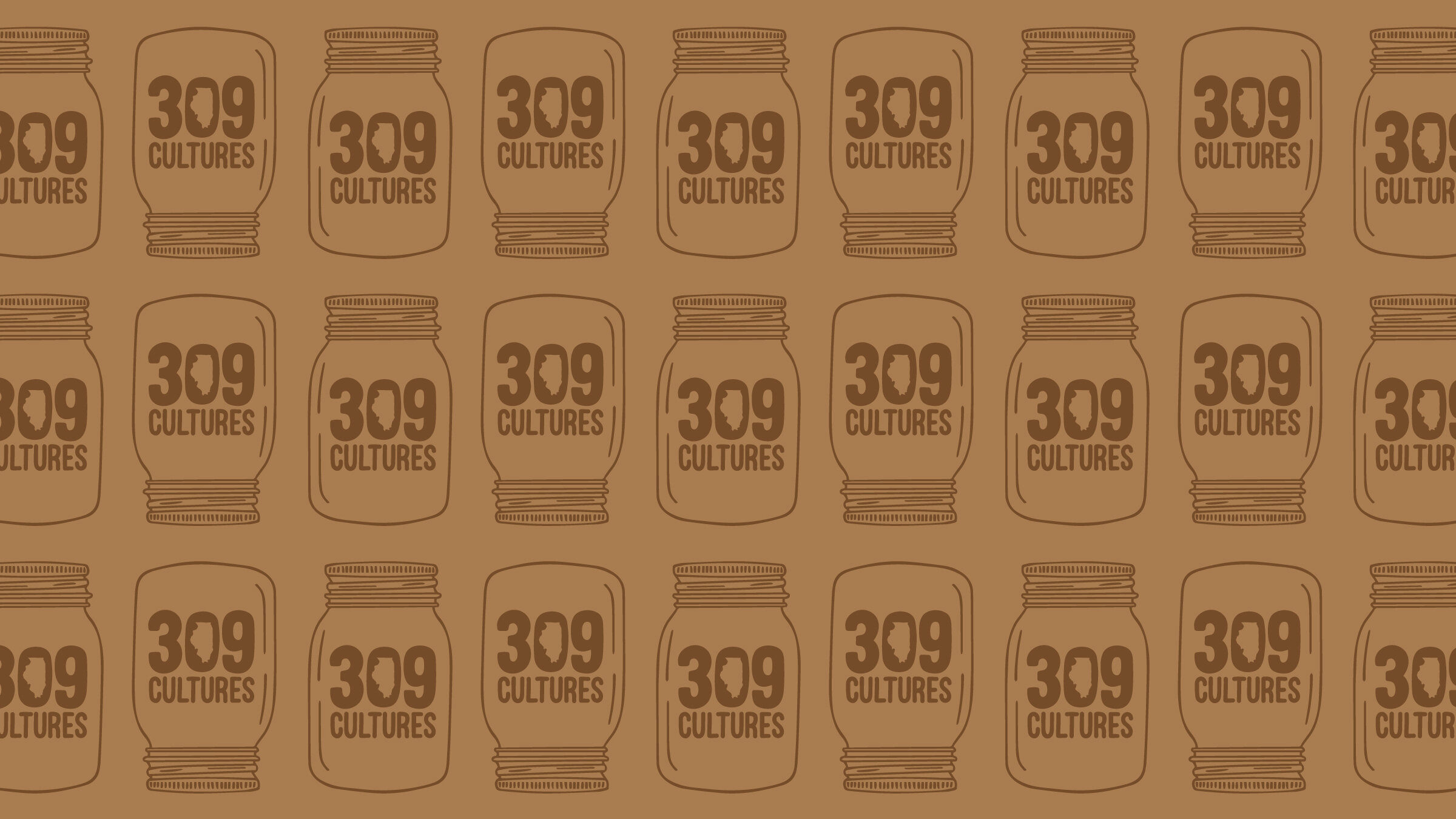 Pattern made from the 309 Cultures logo and hand-drawn mason jar graphic