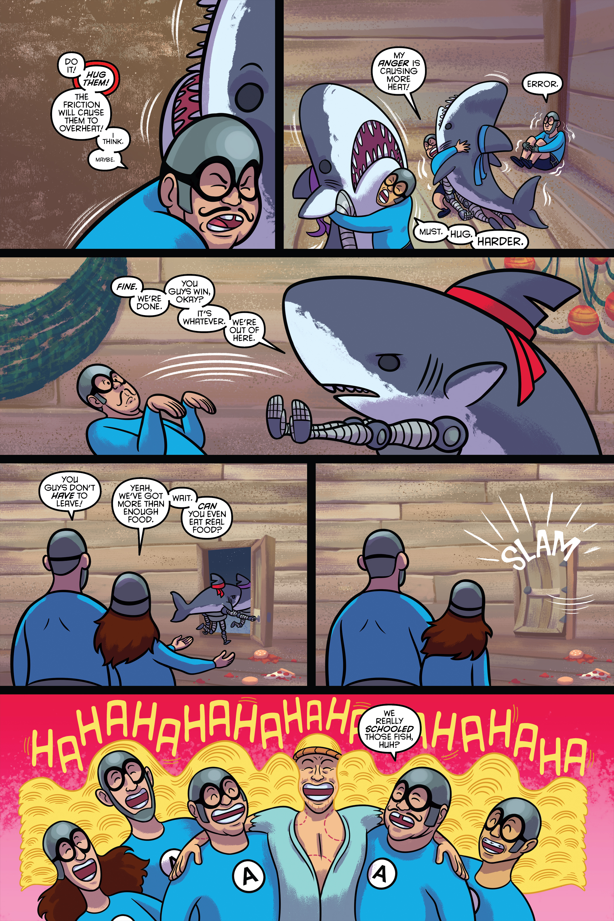 "Written by: Chas! Pangburn Art by: Axur Eneas and Osvaldo Pasillas (Page 5's Background) Letters by: Chas! Pangburn  In January of 2016, Alterna Comics tweeted about wanting to see an Aquatbats comic. After an enormous amount of ""likes"" and ""retweets,"" Peter Simeti (founder/owner of Alterna) found himself in a discussion with the band. Months passed and nothing really came to fruition. Being a huge fan of the band–and their tv show–I wanted to move things along.  So I made a proof-of-concept pitch with Axur Eneas. You know, the natural thing to do.  Our pitch was a direct continuation of ""The Aquabats! Super Show!"" Being true to the tv iteration of the band, different art styles would pop up in every issue. This would've been done through the help of various creators from around the world. So, in a way, it would've been a fun lil mixtape anthology.  While nothing really came of this short, I'm still immensely happy about how things turned out."