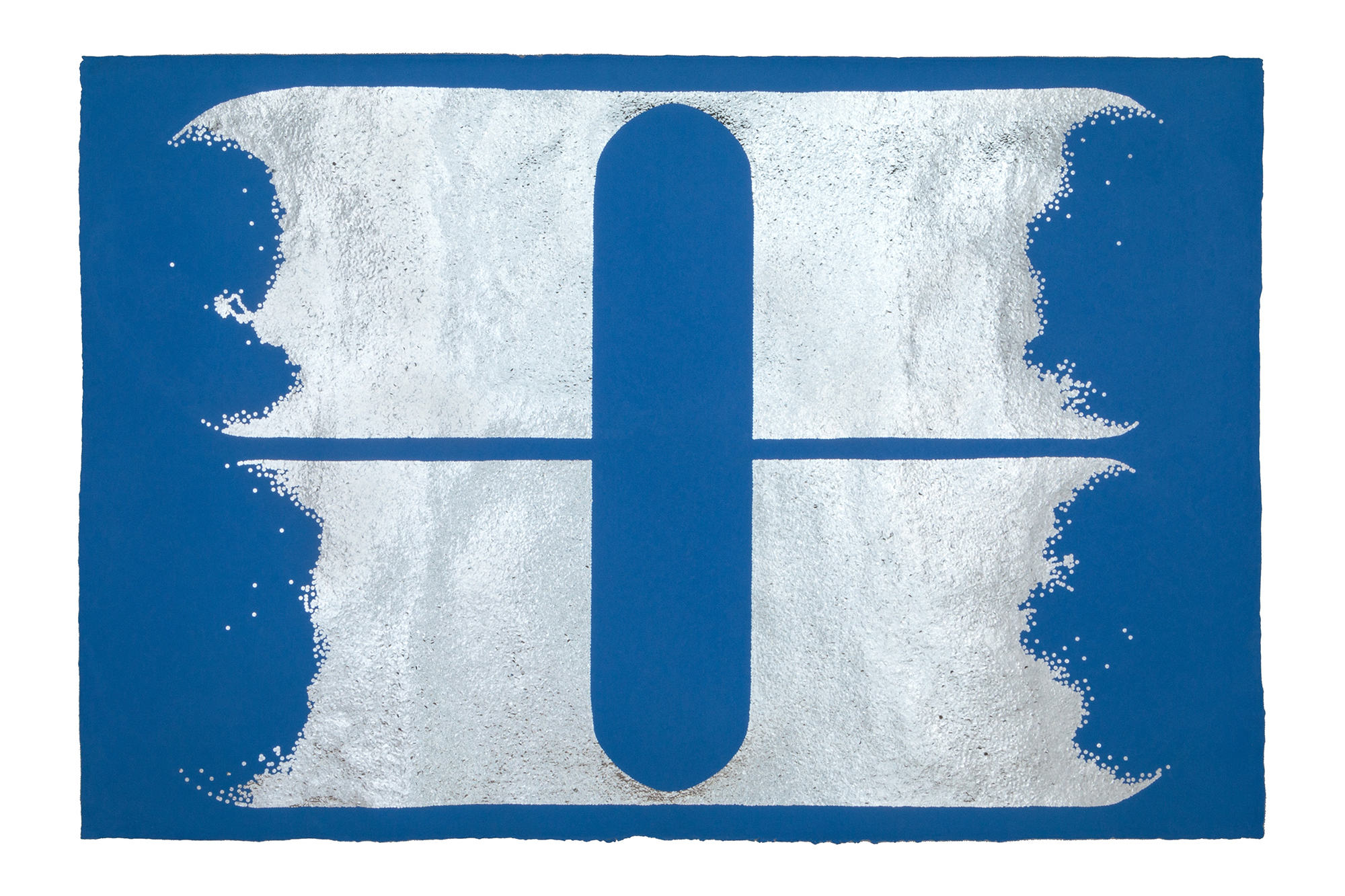 """Leigh Suggs , The Blue I Want In Life Is Only Found In Fiction , 2016                Hand-cut silver Mylar (emergency blanket)on handmade paper, 40"""" x 60"""" Photo by Taylor Dabney"""